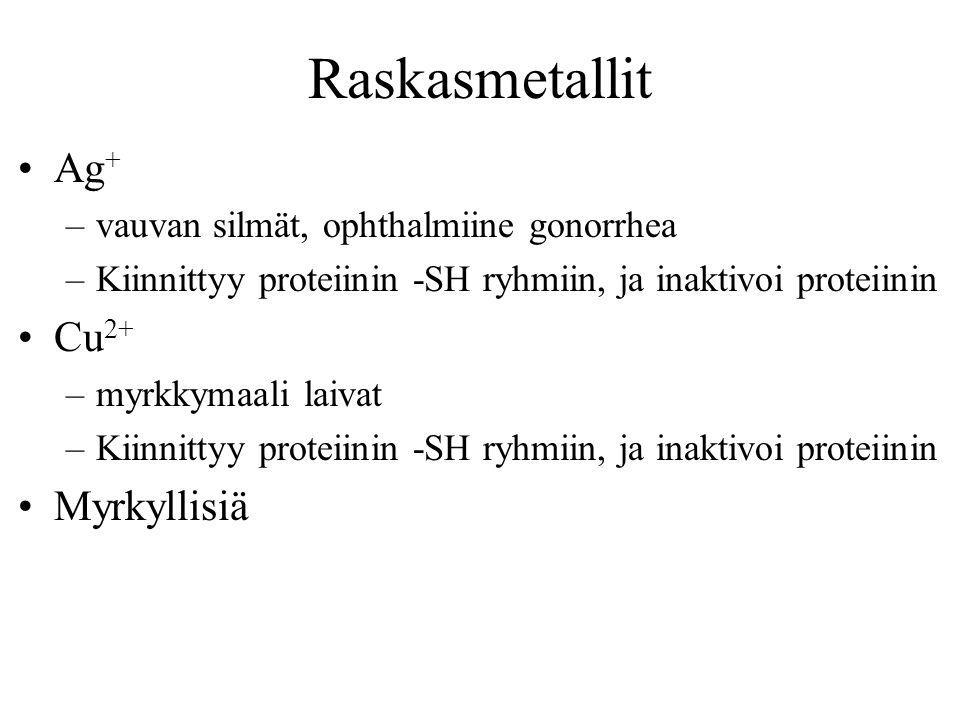Raskasmetallit Ag+ Cu2+ Myrkyllisiä