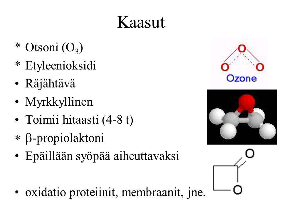 Kaasut Otsoni (O3) Etyleenioksidi Räjähtävä Myrkkyllinen