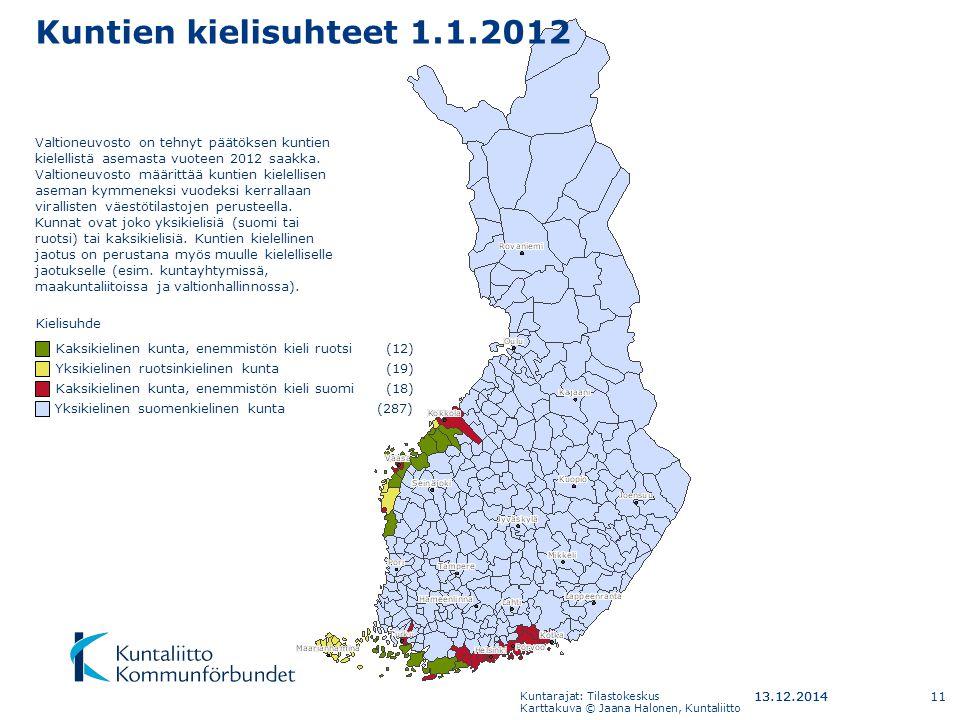 Kuntien kielisuhteet 1.1.2012