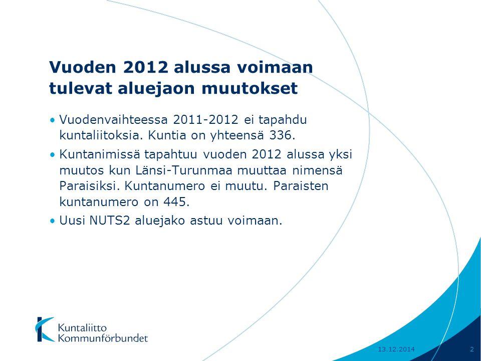 Vuoden 2012 alussa voimaan tulevat aluejaon muutokset