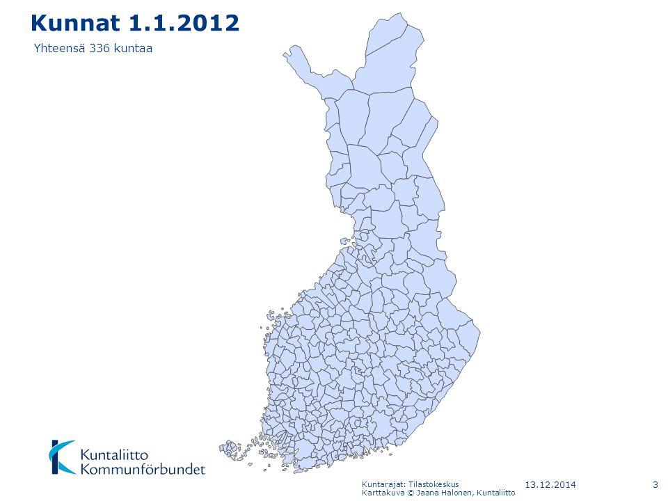 Kunnat 1.1.2012 Yhteensä 336 kuntaa 7.4.2017 Kuntarajat: Tilastokeskus