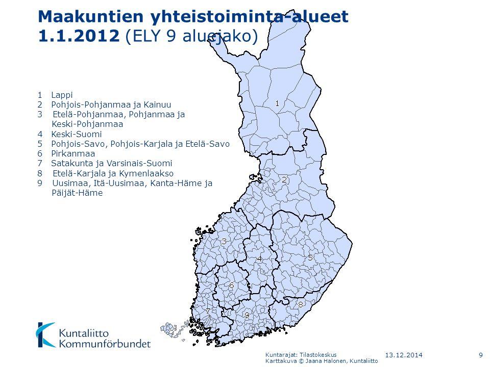 Maakuntien yhteistoiminta-alueet 1.1.2012 (ELY 9 aluejako)
