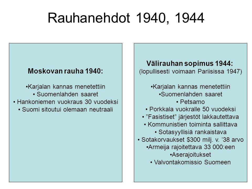 Rauhanehdot 1940, 1944 Välirauhan sopimus 1944: Moskovan rauha 1940: