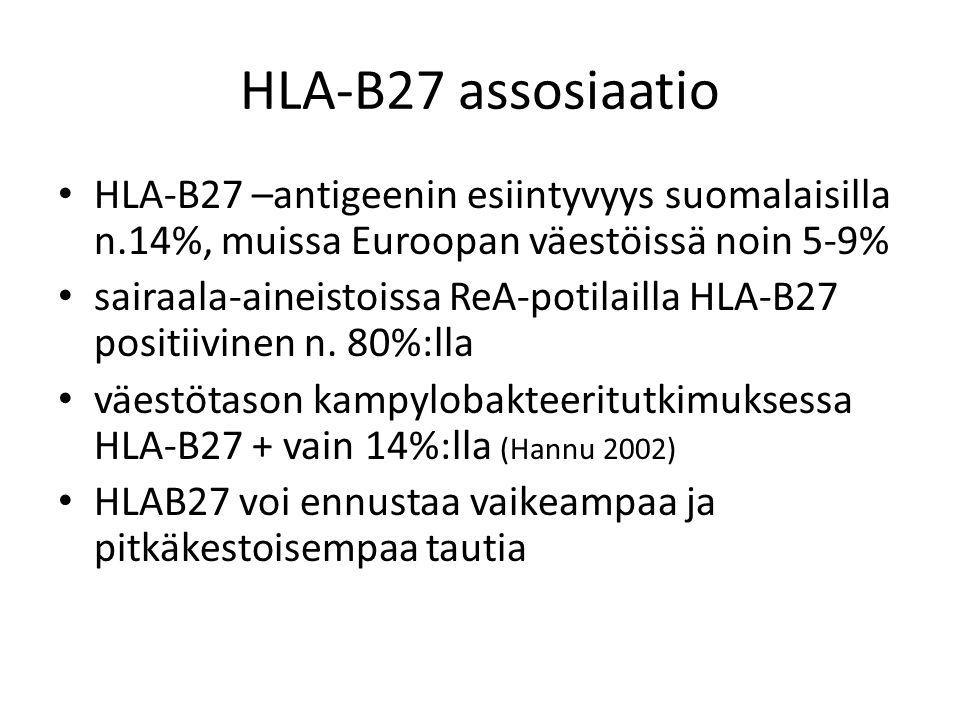 HLA-B27 assosiaatio HLA-B27 –antigeenin esiintyvyys suomalaisilla n.14%, muissa Euroopan väestöissä noin 5-9%