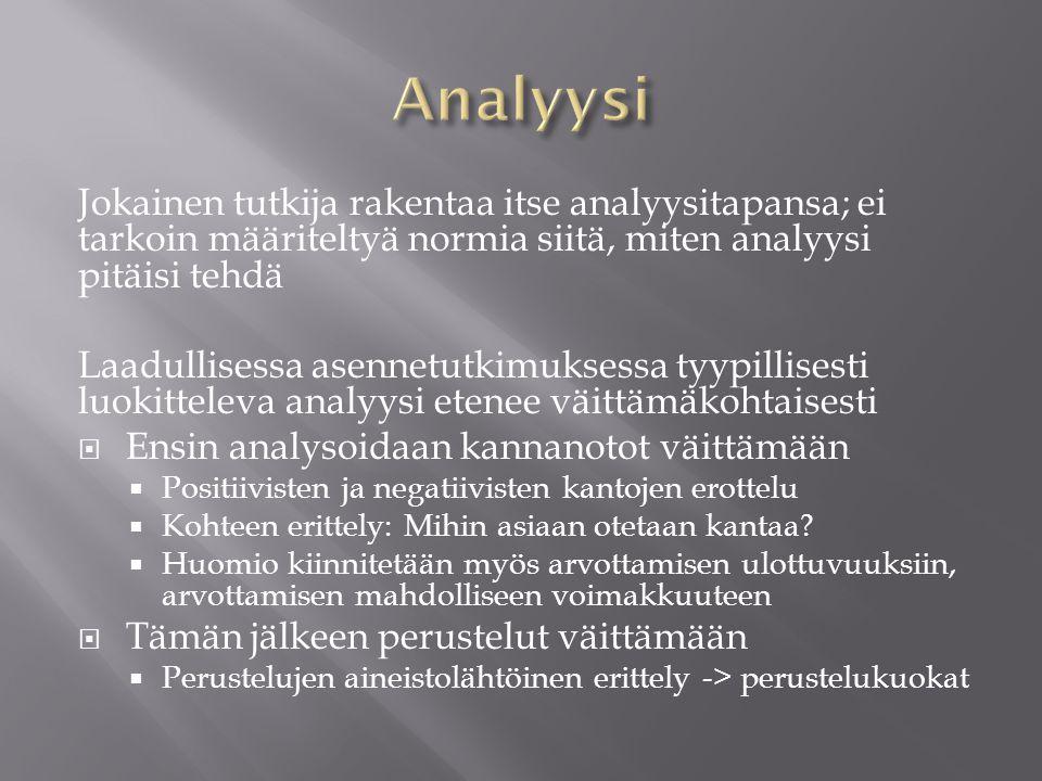 Analyysi Jokainen tutkija rakentaa itse analyysitapansa; ei tarkoin määriteltyä normia siitä, miten analyysi pitäisi tehdä.