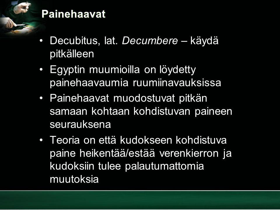 Painehaavat Decubitus, lat. Decumbere – käydä pitkälleen. Egyptin muumioilla on löydetty painehaavaumia ruumiinavauksissa.