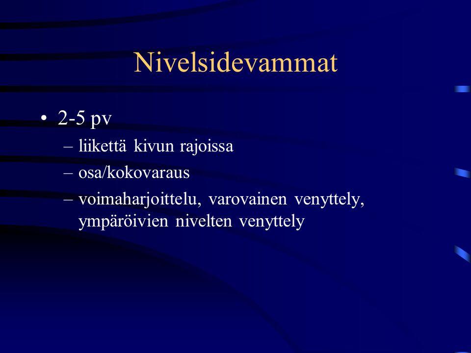 Nivelsidevammat 2-5 pv liikettä kivun rajoissa osa/kokovaraus