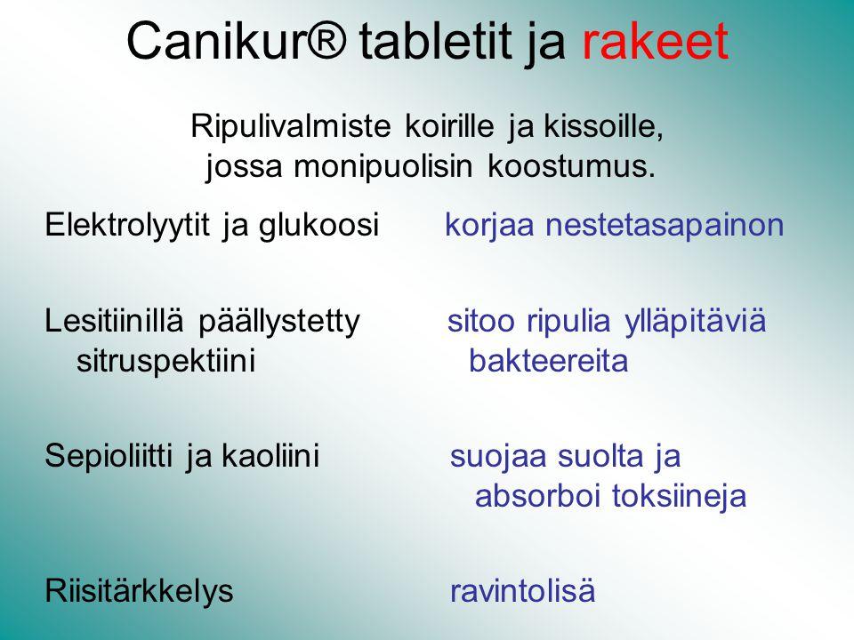 Canikur® tabletit ja rakeet Ripulivalmiste koirille ja kissoille, jossa monipuolisin koostumus.