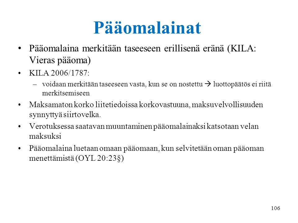 18.9.2014 Pääomalainat. Pääomalaina merkitään taseeseen erillisenä eränä (KILA: Vieras pääoma) KILA 2006/1787:
