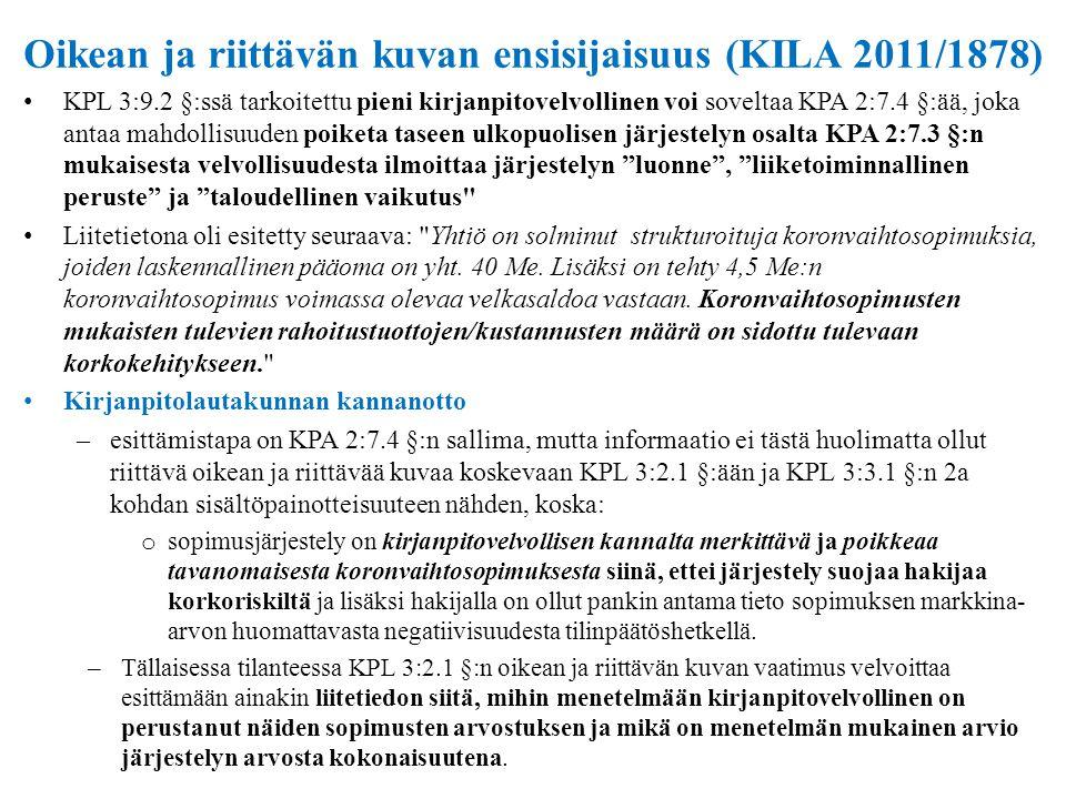 Oikean ja riittävän kuvan ensisijaisuus (KILA 2011/1878)