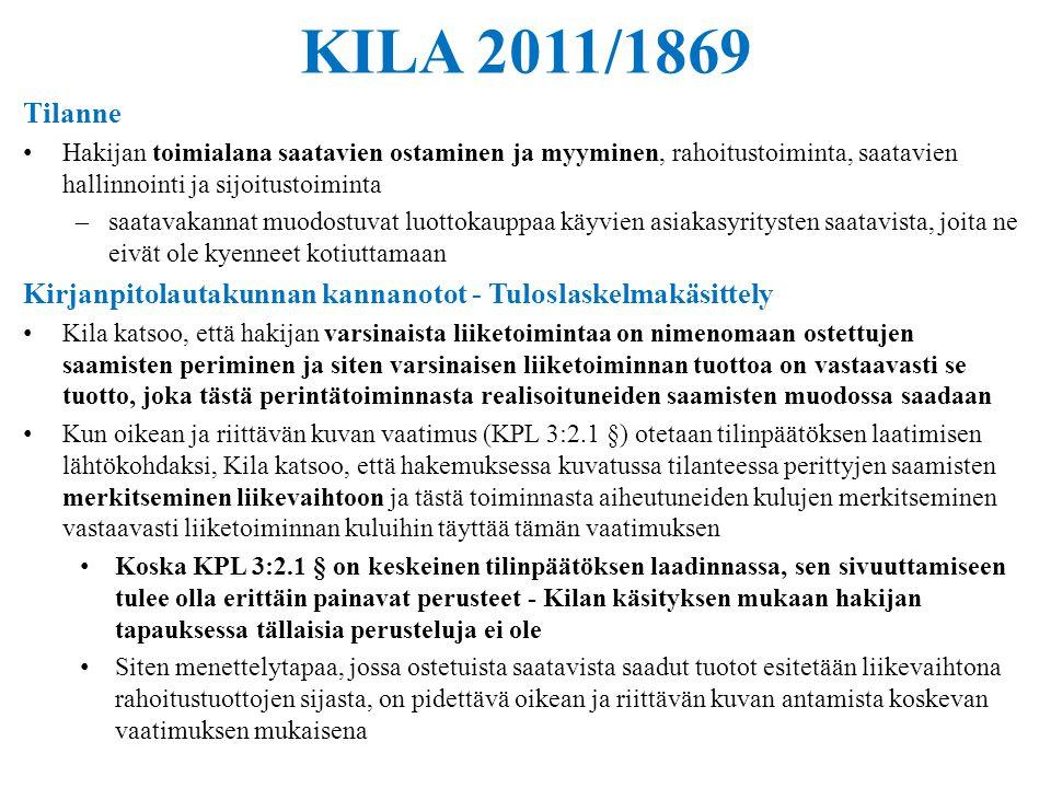 KILA 2011/1869 Tilanne. Hakijan toimialana saatavien ostaminen ja myyminen, rahoitustoiminta, saatavien hallinnointi ja sijoitustoiminta.