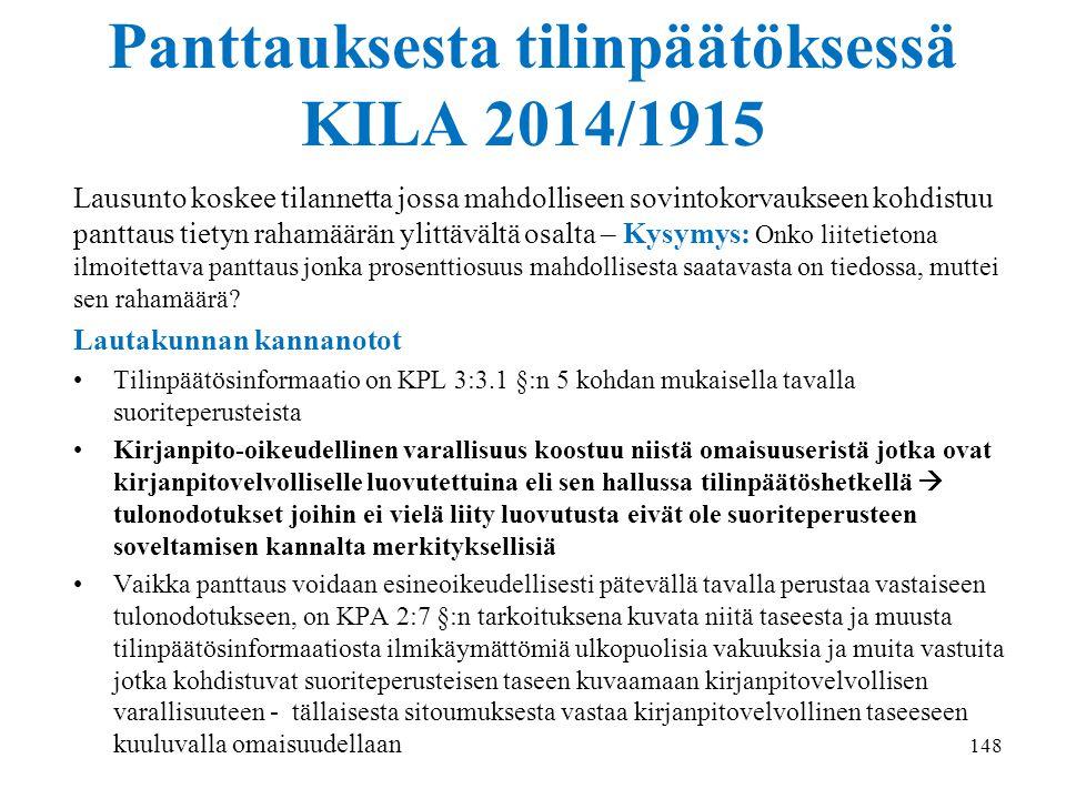 Panttauksesta tilinpäätöksessä KILA 2014/1915