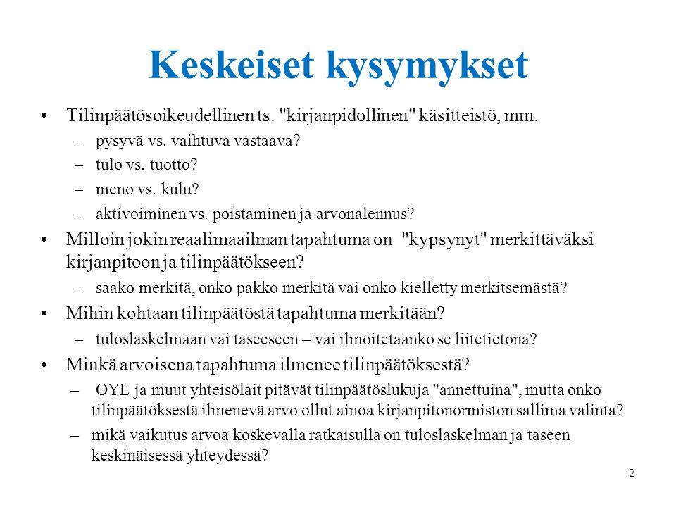 18.9.2014 Keskeiset kysymykset. Tilinpäätösoikeudellinen ts. kirjanpidollinen käsitteistö, mm. pysyvä vs. vaihtuva vastaava
