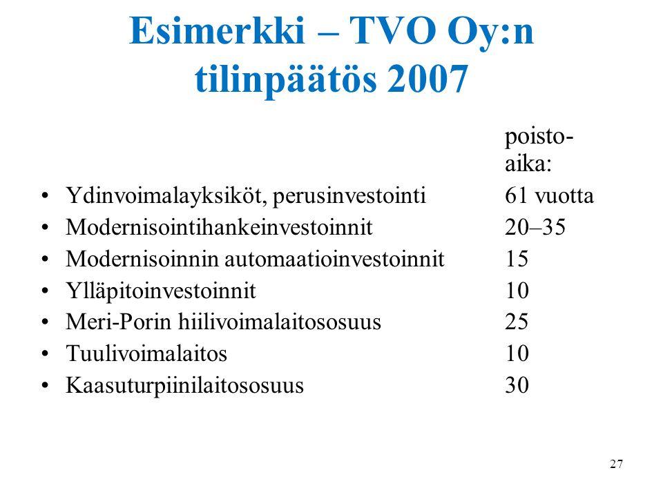 Esimerkki – TVO Oy:n tilinpäätös 2007