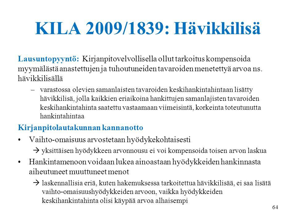 18.9.2014 KILA 2009/1839: Hävikkilisä.