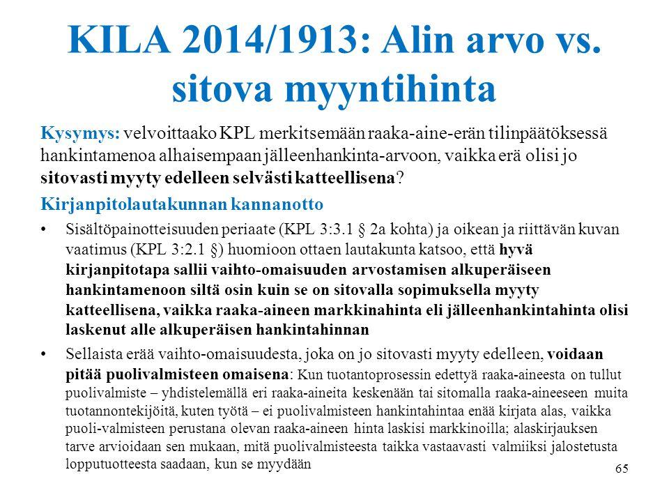 KILA 2014/1913: Alin arvo vs. sitova myyntihinta