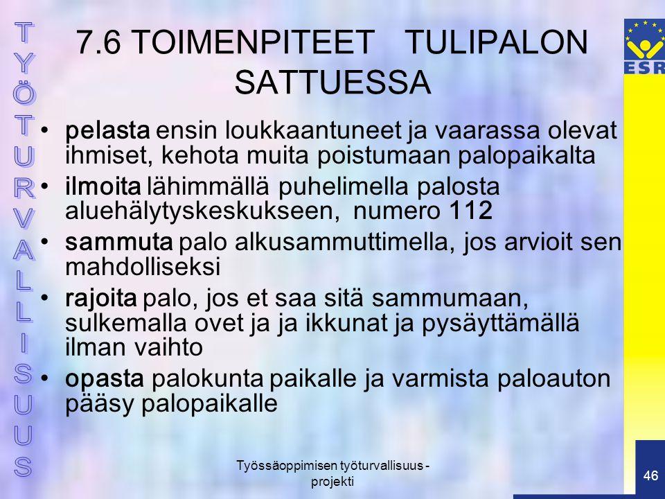 7.6 TOIMENPITEET TULIPALON SATTUESSA