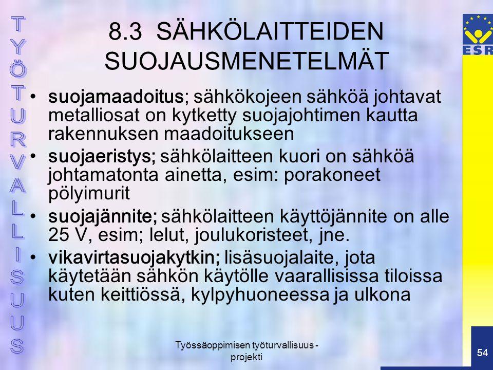 8.3 SÄHKÖLAITTEIDEN SUOJAUSMENETELMÄT