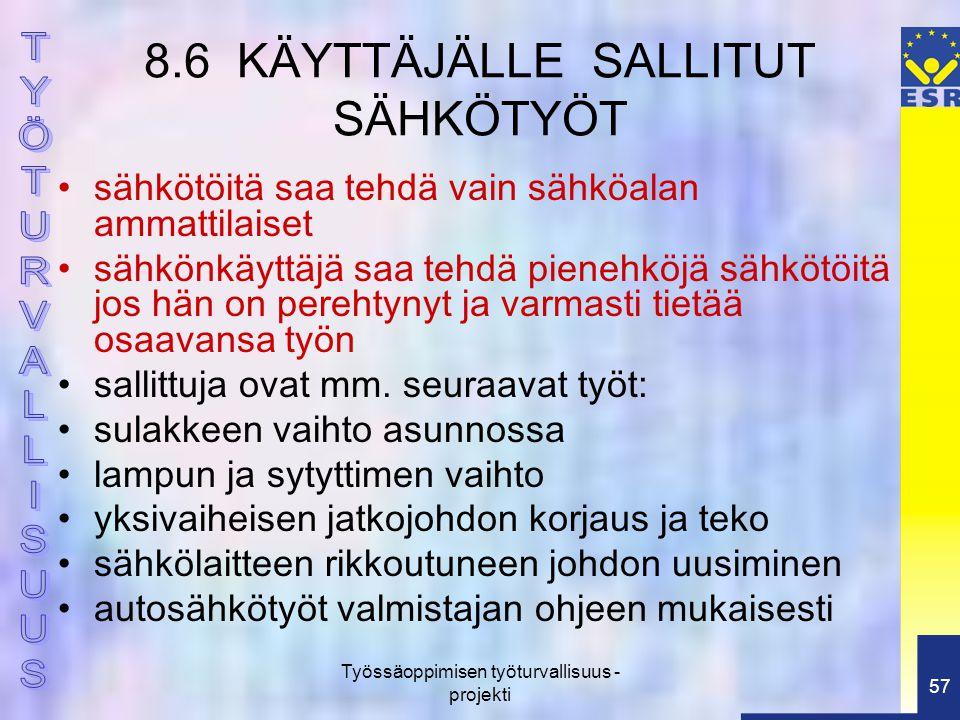 8.6 KÄYTTÄJÄLLE SALLITUT SÄHKÖTYÖT