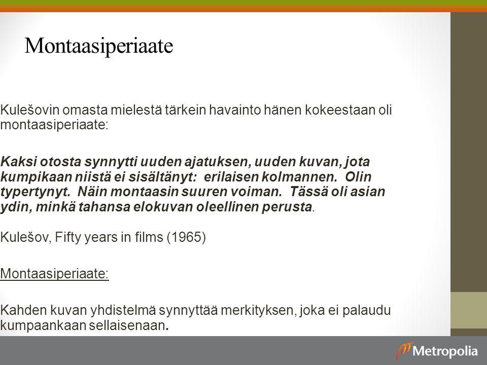 Montaasiperiaate Kulešovin omasta mielestä tärkein havainto hänen kokeestaan oli montaasiperiaate:
