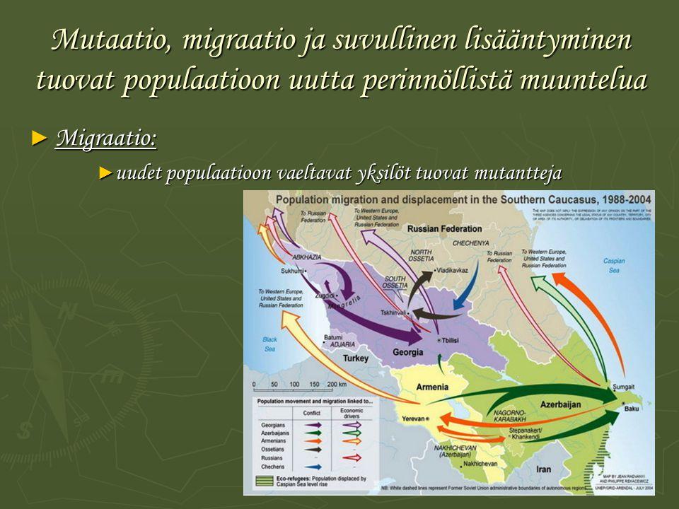 Mutaatio, migraatio ja suvullinen lisääntyminen tuovat populaatioon uutta perinnöllistä muuntelua