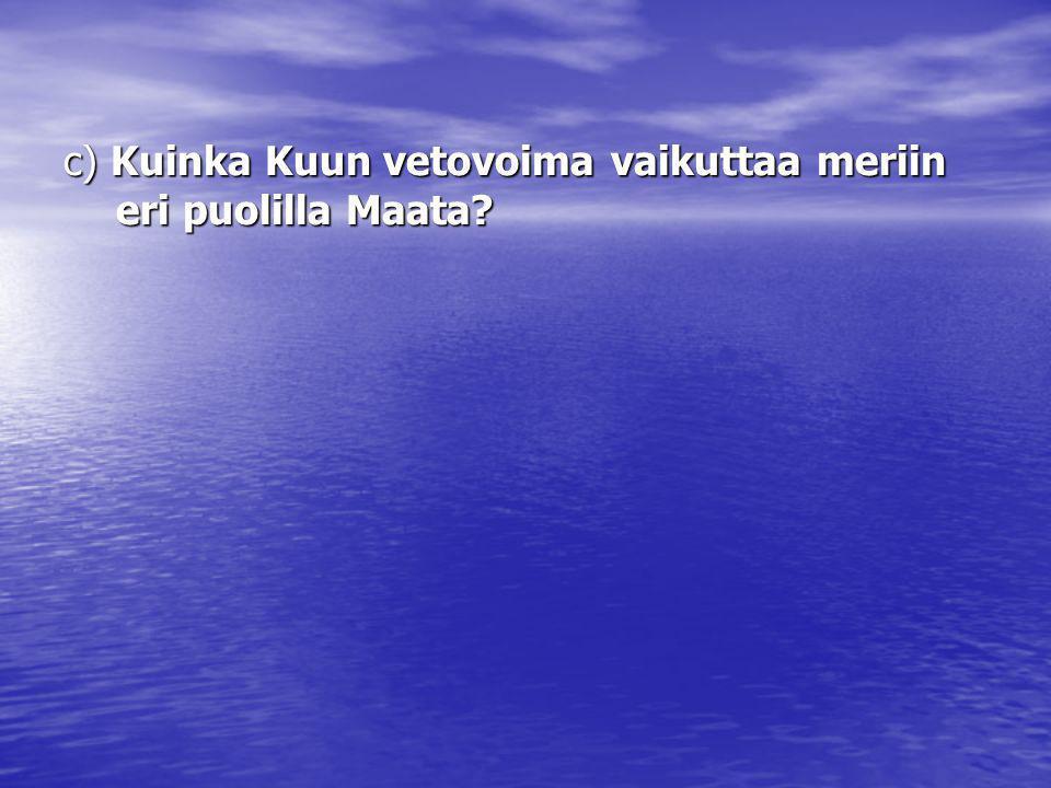 c) Kuinka Kuun vetovoima vaikuttaa meriin eri puolilla Maata