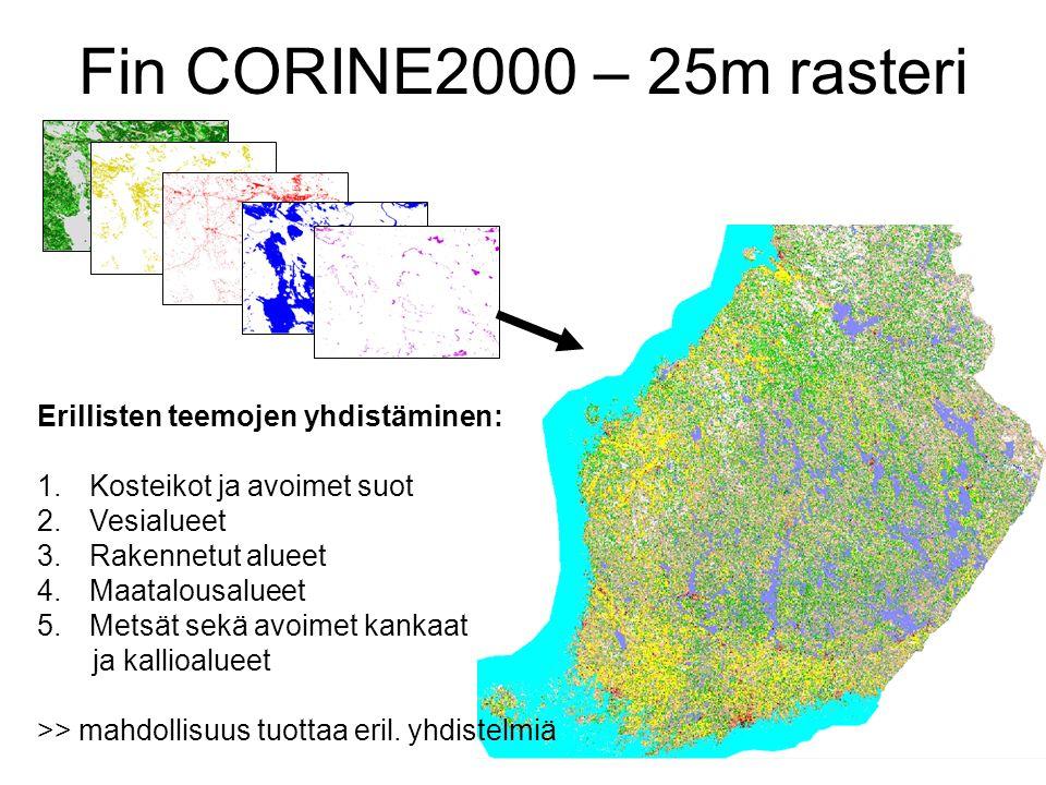 Fin CORINE2000 – 25m rasteri Erillisten teemojen yhdistäminen: