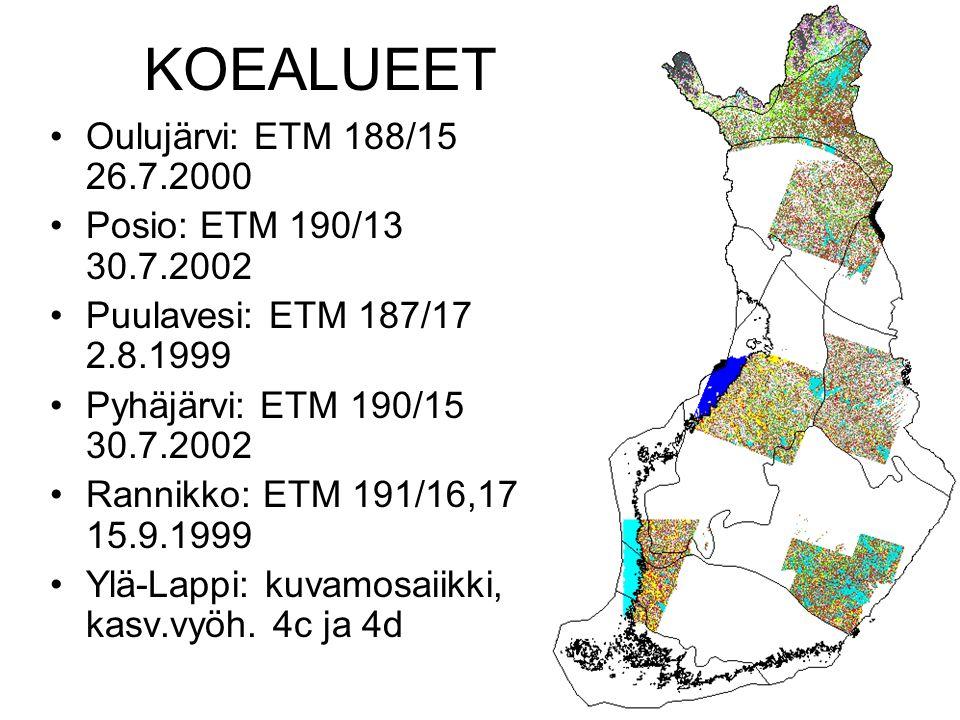 KOEALUEET Oulujärvi: ETM 188/15 26.7.2000 Posio: ETM 190/13 30.7.2002