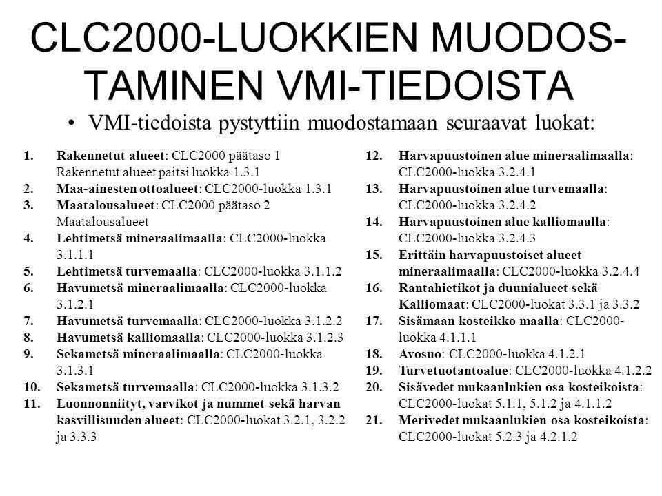 CLC2000-LUOKKIEN MUODOS-TAMINEN VMI-TIEDOISTA