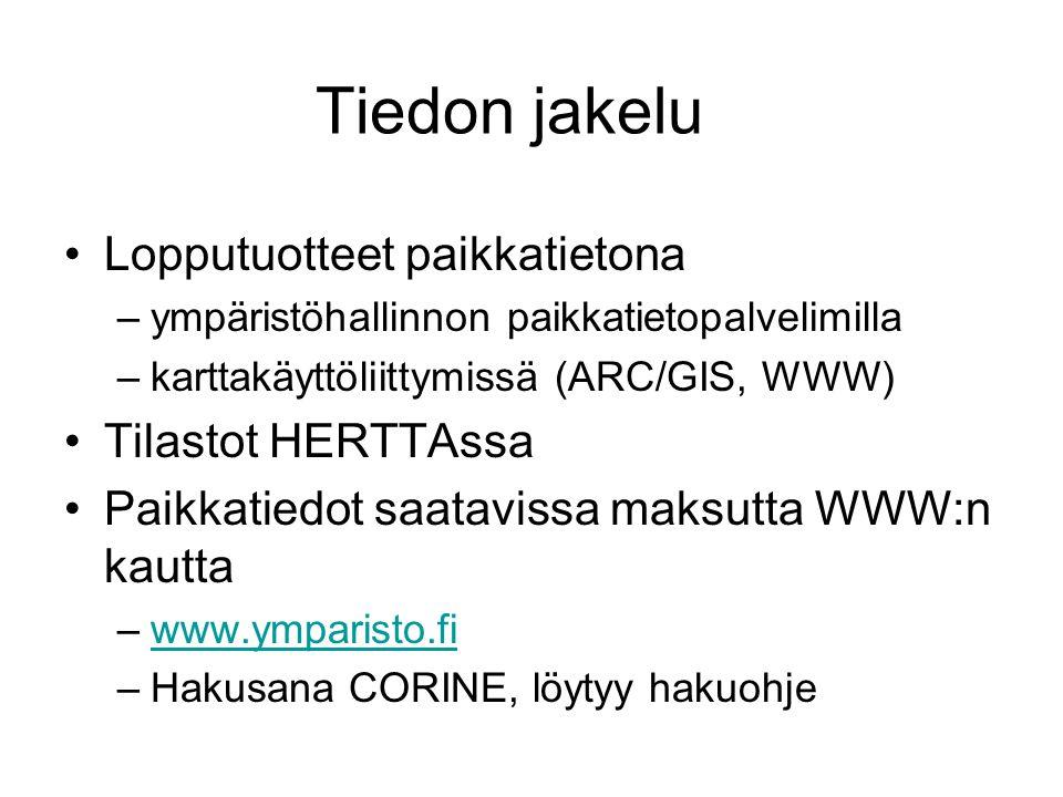 Tiedon jakelu Lopputuotteet paikkatietona Tilastot HERTTAssa