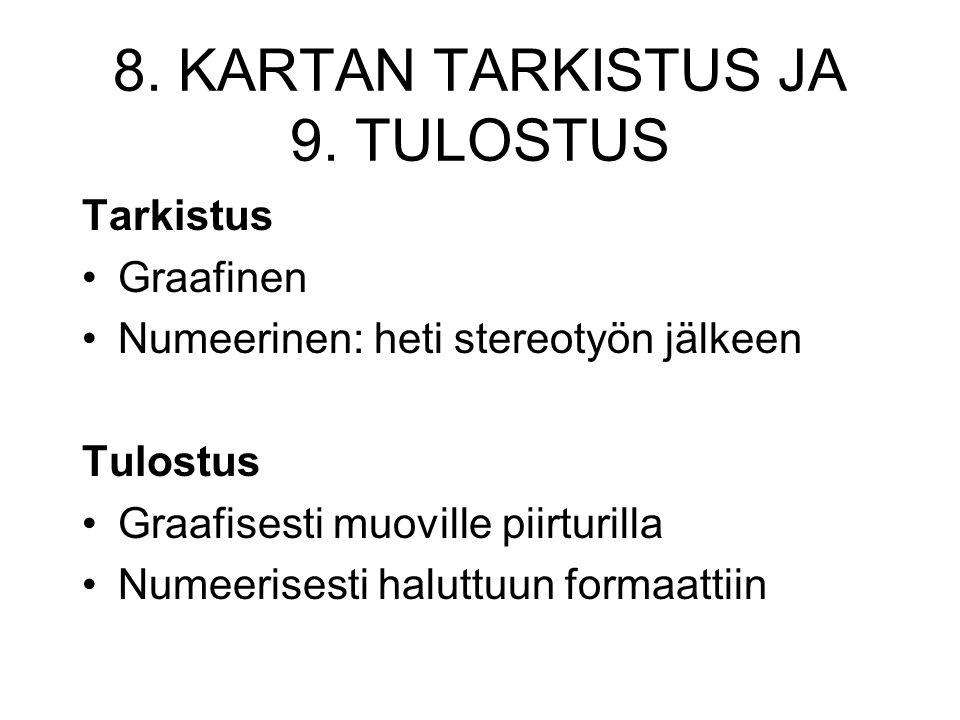 8. KARTAN TARKISTUS JA 9. TULOSTUS
