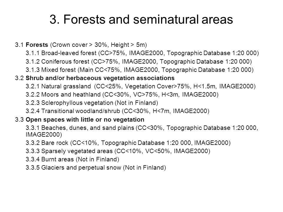 3. Forests and seminatural areas