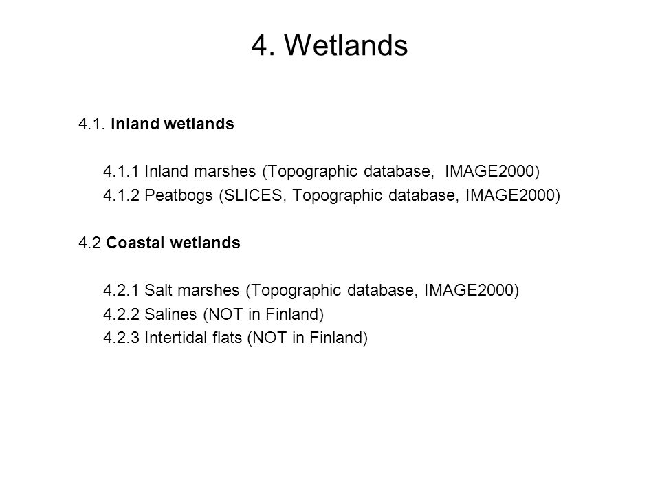 4. Wetlands 4.1. Inland wetlands