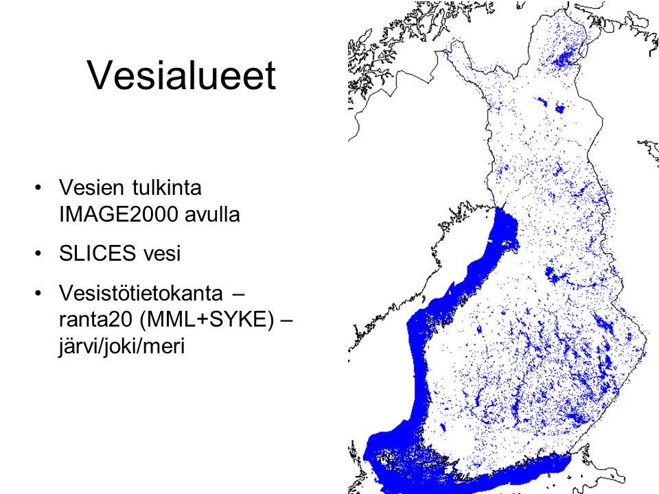 Vesialueet Vesien tulkinta IMAGE2000 avulla SLICES vesi