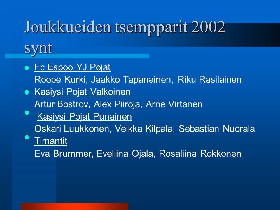 Joukkueiden tsempparit 2002 synt