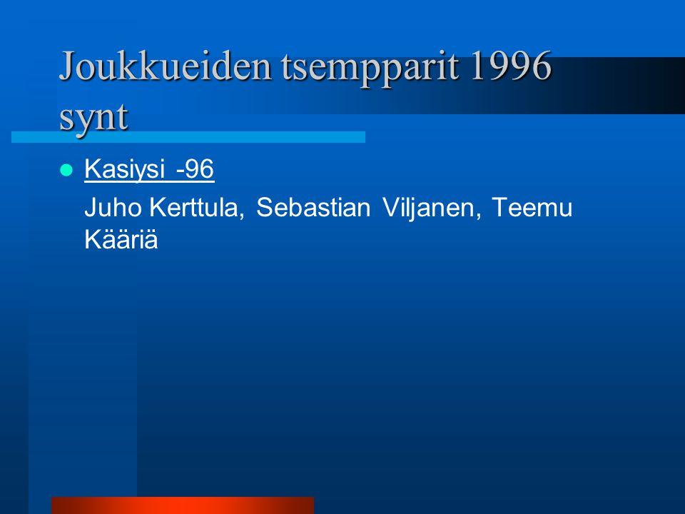 Joukkueiden tsempparit 1996 synt