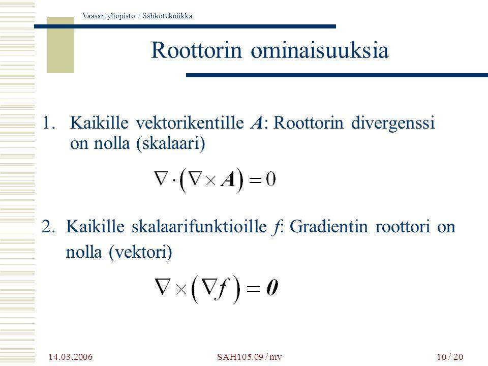 Roottorin ominaisuuksia