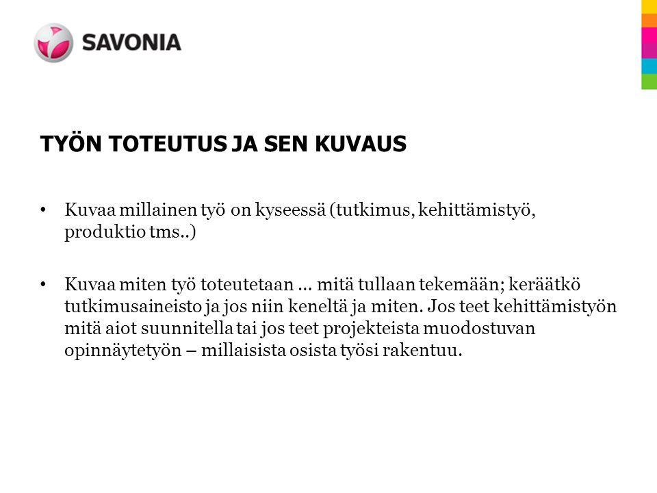 TYÖN TOTEUTUS JA SEN KUVAUS