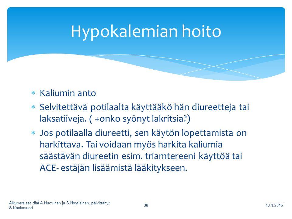 Hypokalemian hoito Kaliumin anto