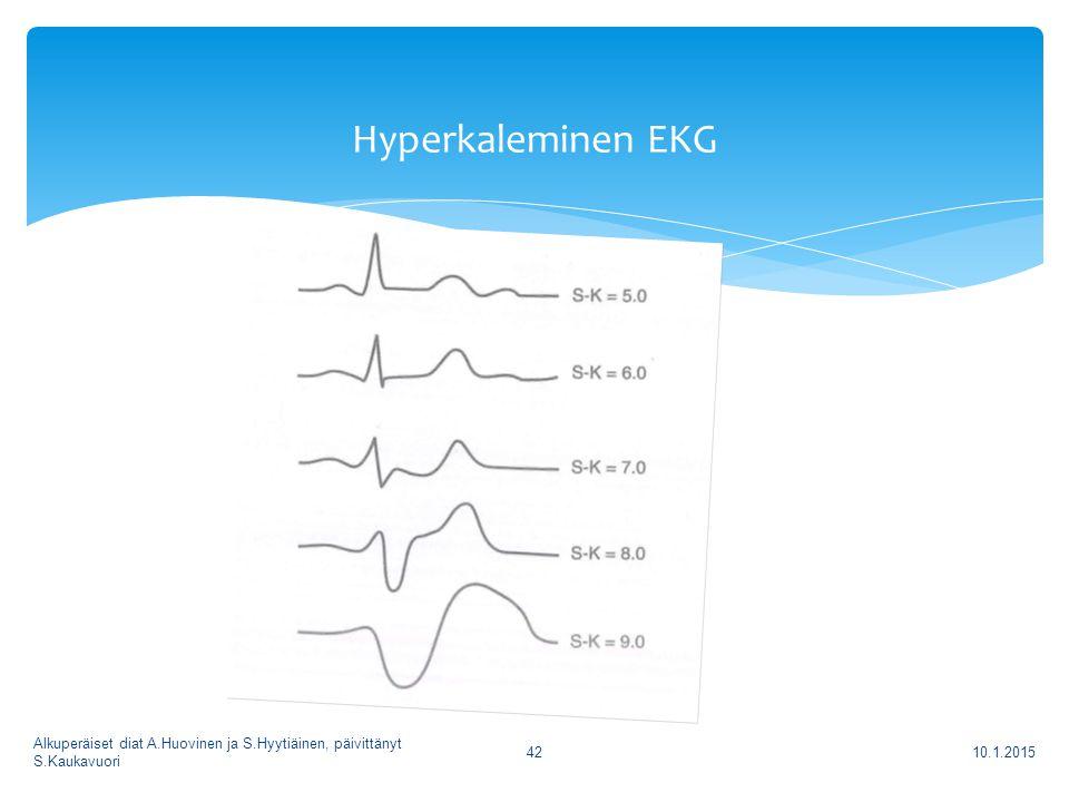Hyperkaleminen EKG Alkuperäiset diat A.Huovinen ja S.Hyytiäinen, päivittänyt S.Kaukavuori 8.4.2017