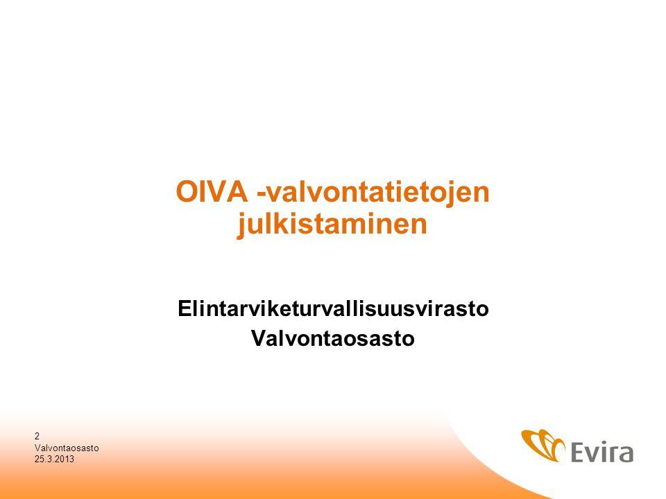 OIVA -valvontatietojen julkistaminen