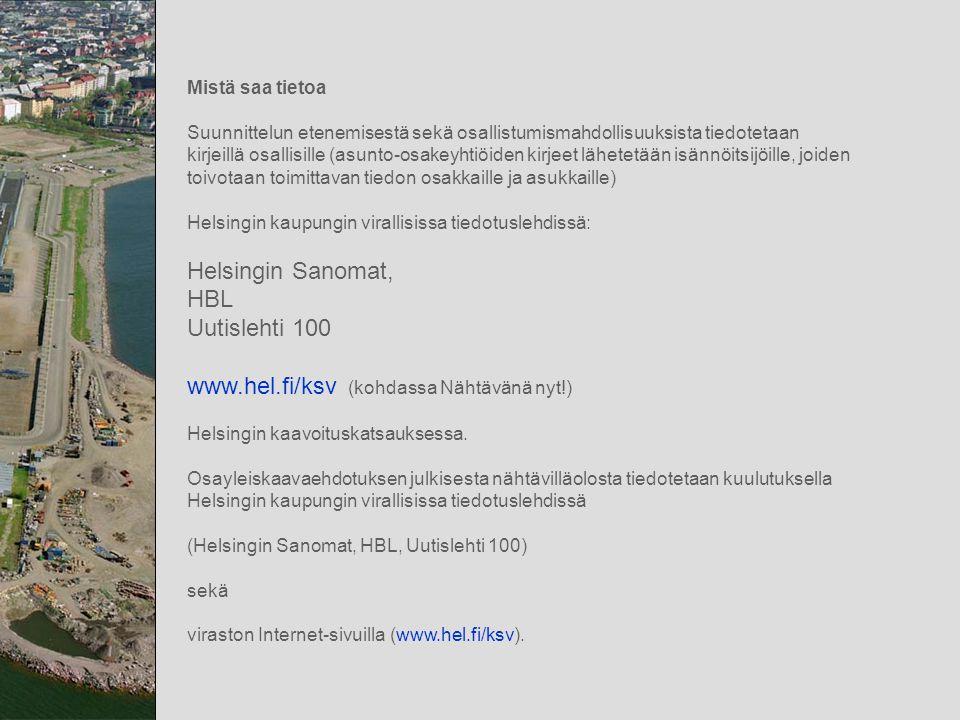 www.hel.fi/ksv (kohdassa Nähtävänä nyt!)
