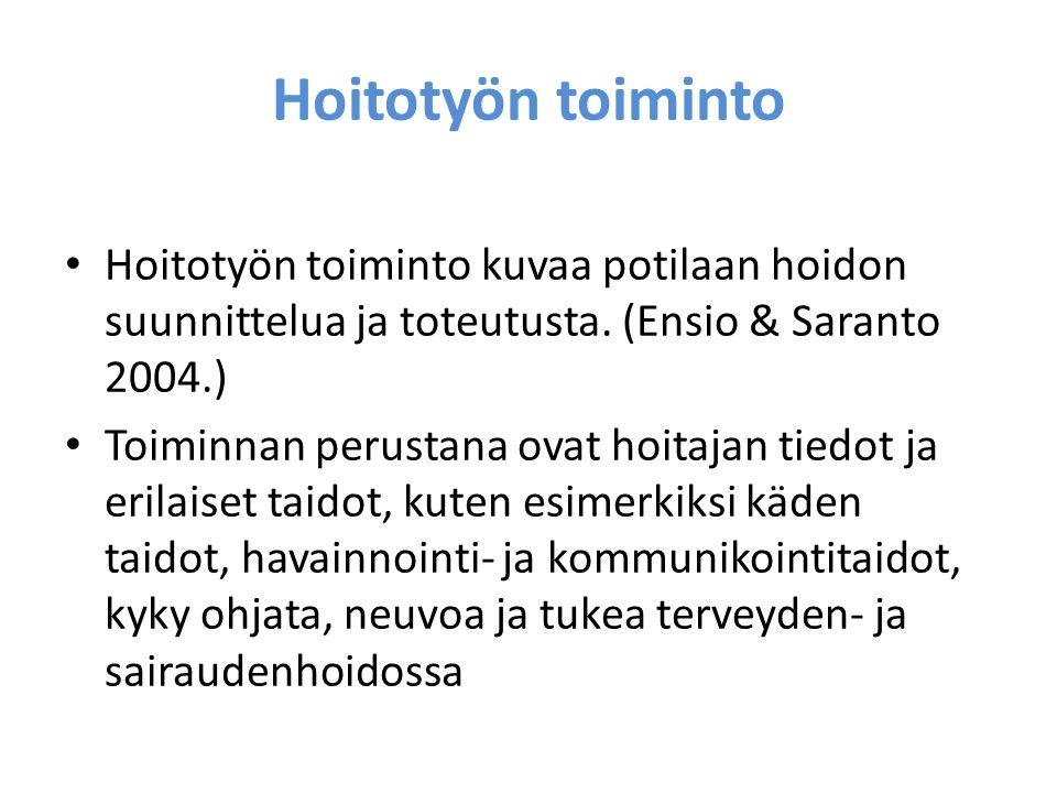 Hoitotyön toiminto Hoitotyön toiminto kuvaa potilaan hoidon suunnittelua ja toteutusta. (Ensio & Saranto 2004.)