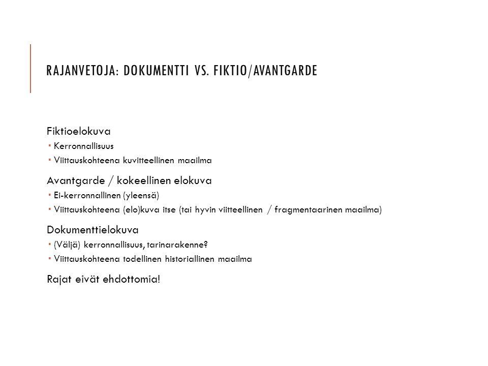 Rajanvetoja: dokumentti vs. fiktio/avantgarde