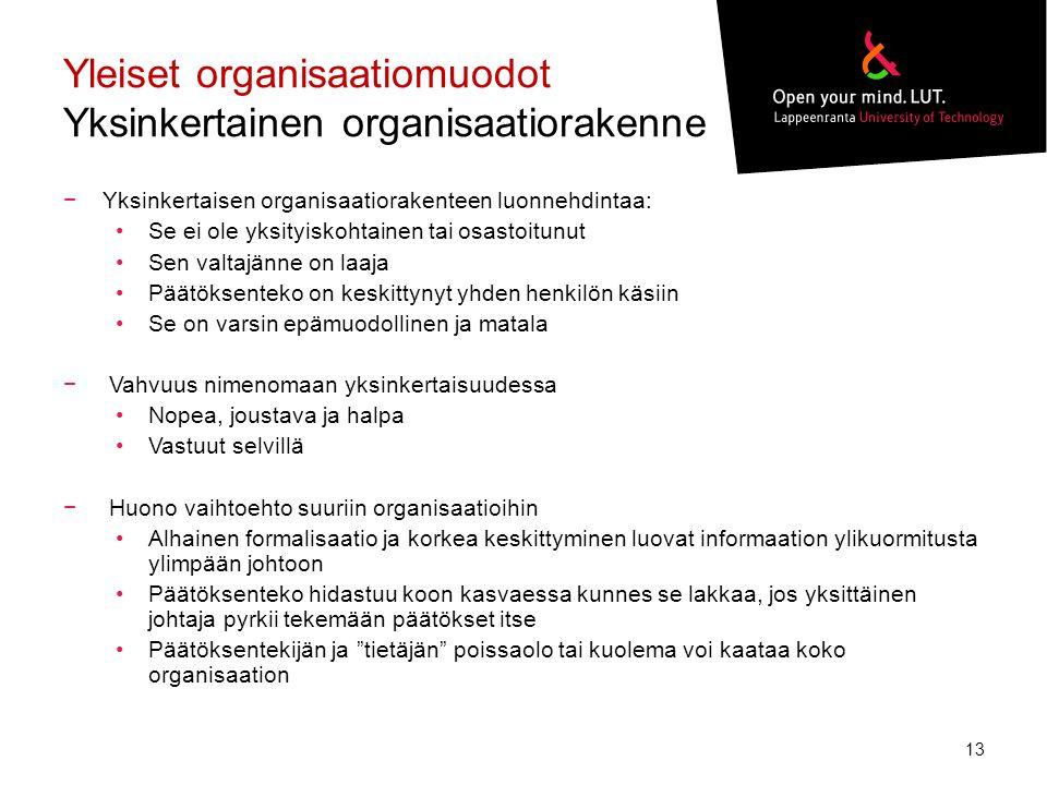 Yleiset organisaatiomuodot Yksinkertainen organisaatiorakenne