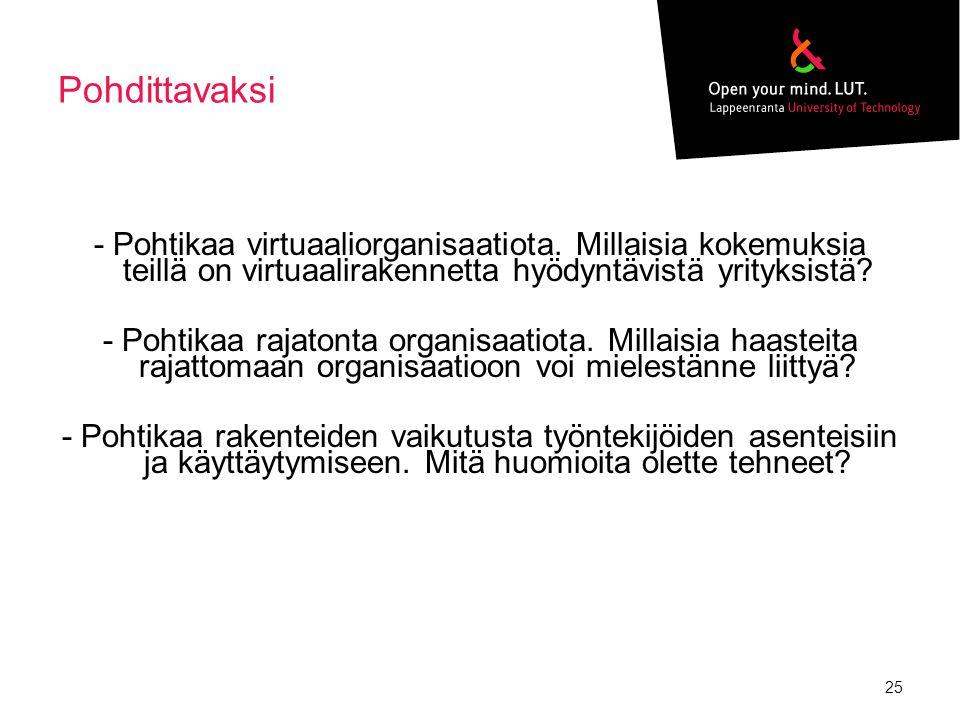 Pohdittavaksi - Pohtikaa virtuaaliorganisaatiota. Millaisia kokemuksia teillä on virtuaalirakennetta hyödyntävistä yrityksistä