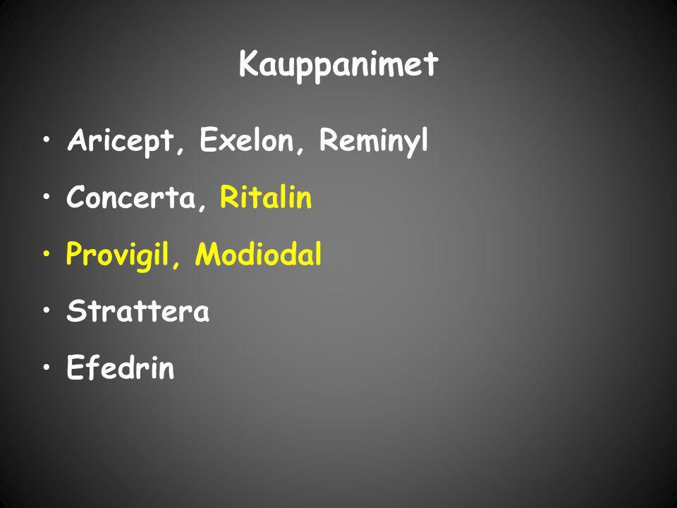 Kauppanimet Aricept, Exelon, Reminyl Concerta, Ritalin