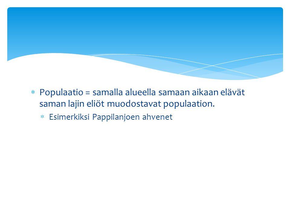 Populaatio = samalla alueella samaan aikaan elävät saman lajin eliöt muodostavat populaation.