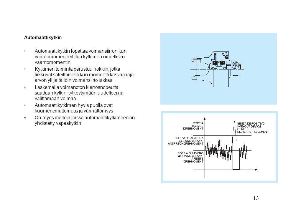 Automaattikytkin Automaattikytkin lopettaa voimansiirron kun vääntömomentti ylittää kytkimen nimellisen vääntömomentin.