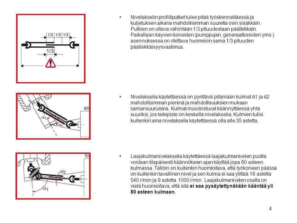 Nivelakselin profiiliputket tulee pitää työskenneltäessä ja kuljetuksen aikana mahdollisimman suurelta osin sisäkkäin. Putkien on oltava vähintään 1/3 pituudestaan päällekkäin. Paikallaan käyvien koneiden (pumppujen, generaattoreiden yms.) asennuksessa on otettava huomioon sama 1/3 pituuden päällekkäisyysvaatimus.